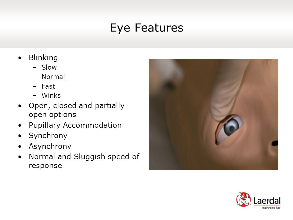 Eye Features Blinking Open, closed and partially open options