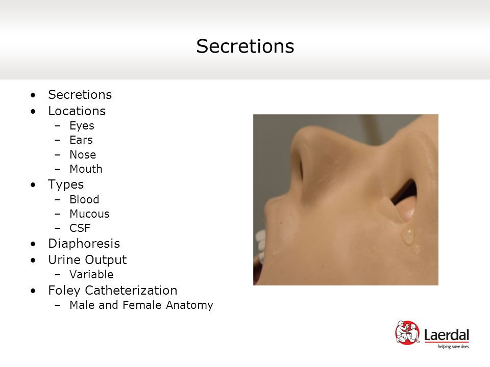 Secretions Secretions Locations Types Diaphoresis Urine Output