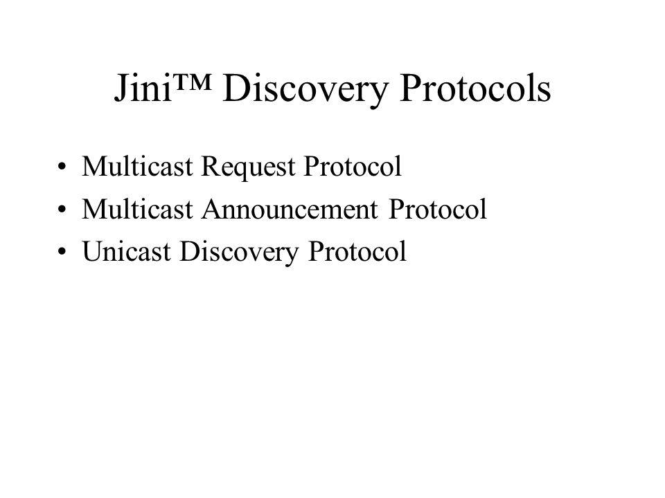 Jini™ Discovery Protocols