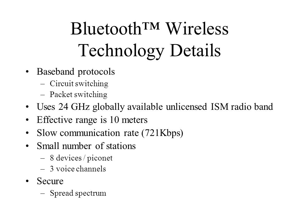 Bluetooth™ Wireless Technology Details