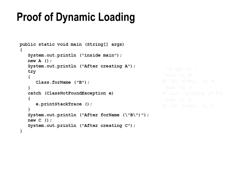 Proof of Dynamic Loading