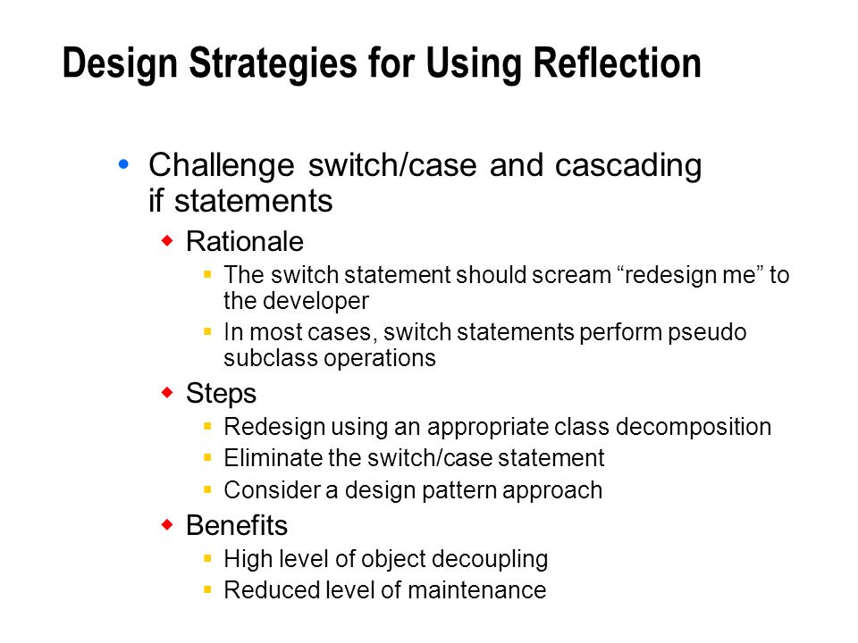 Design Strategies for Using Reflection