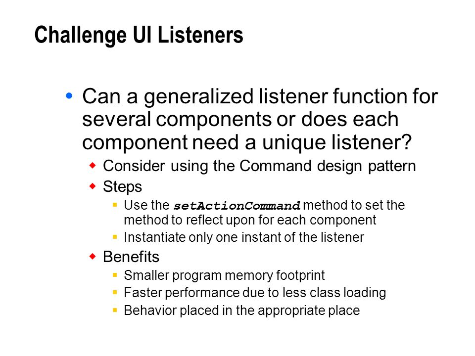 Challenge UI Listeners