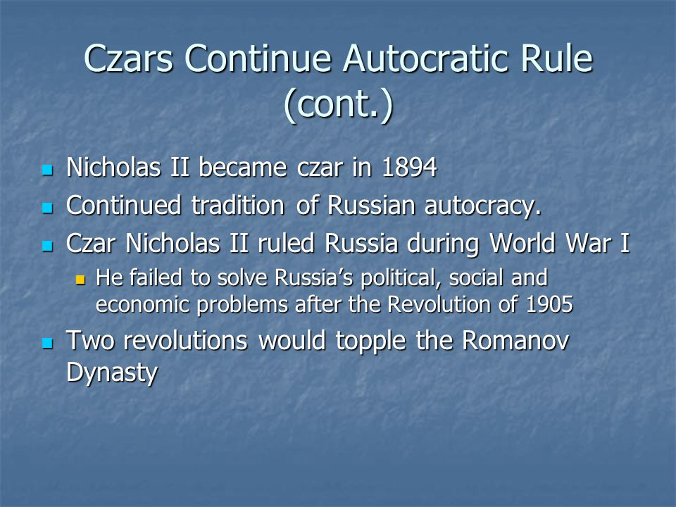 the problems of czarist russia In russia, the february revolution  three days later, nicholas formally abdicated his throne, effectively ending nearly four centuries of czarist rule in russia.