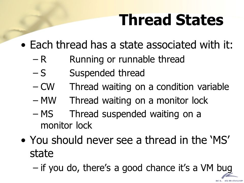 Thread States Each thread has a state associated with it: