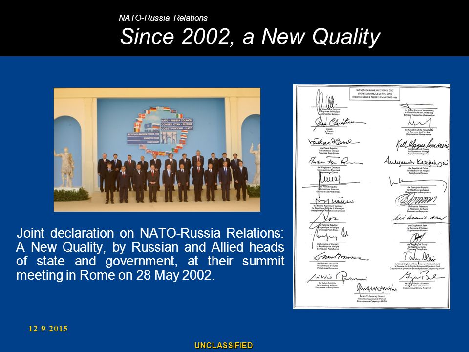NATO-Russia Relations Since 2002, a New Quality