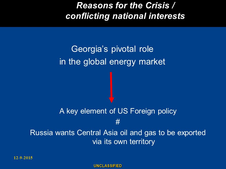 Reasons for the Crisis / conflicting national interests