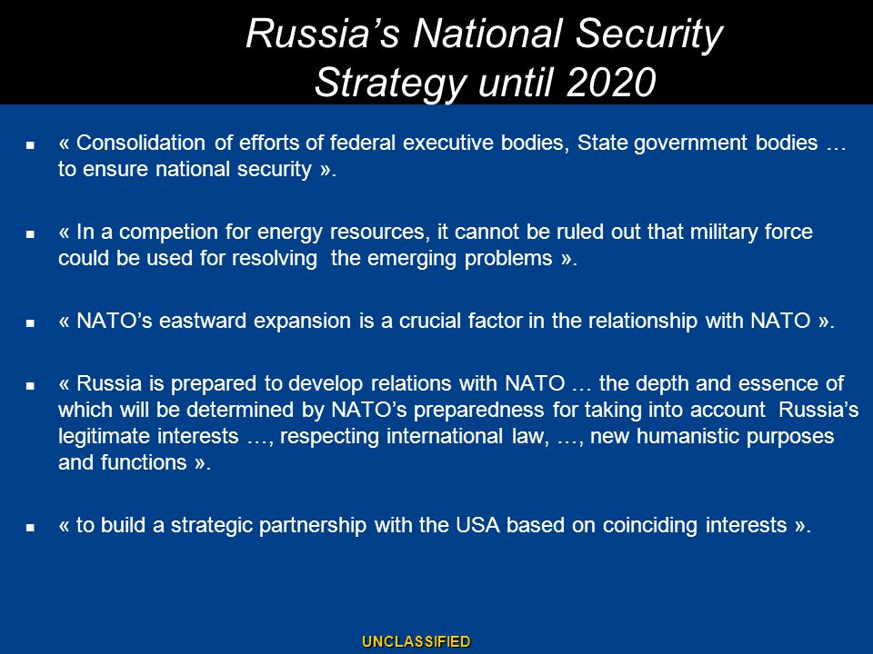 Russia's National Security Strategy until 2020