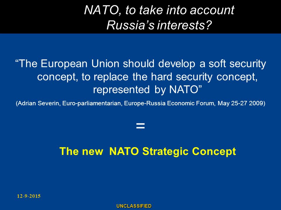 NATO, to take into account Russia's interests