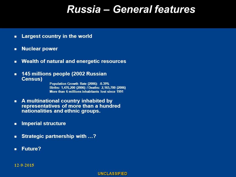 Russia – General features