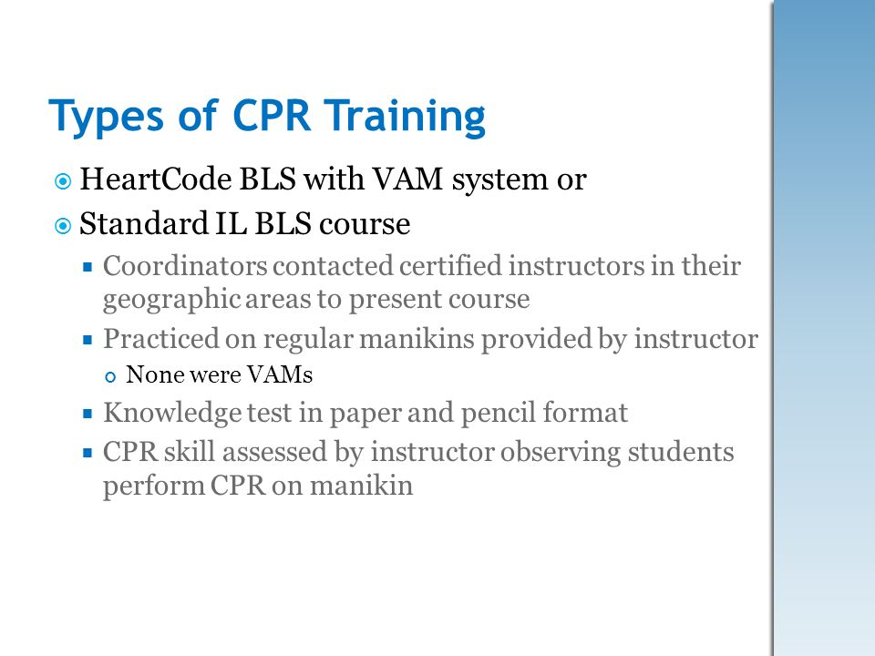 Types of CPR Training HeartCode BLS with VAM system or