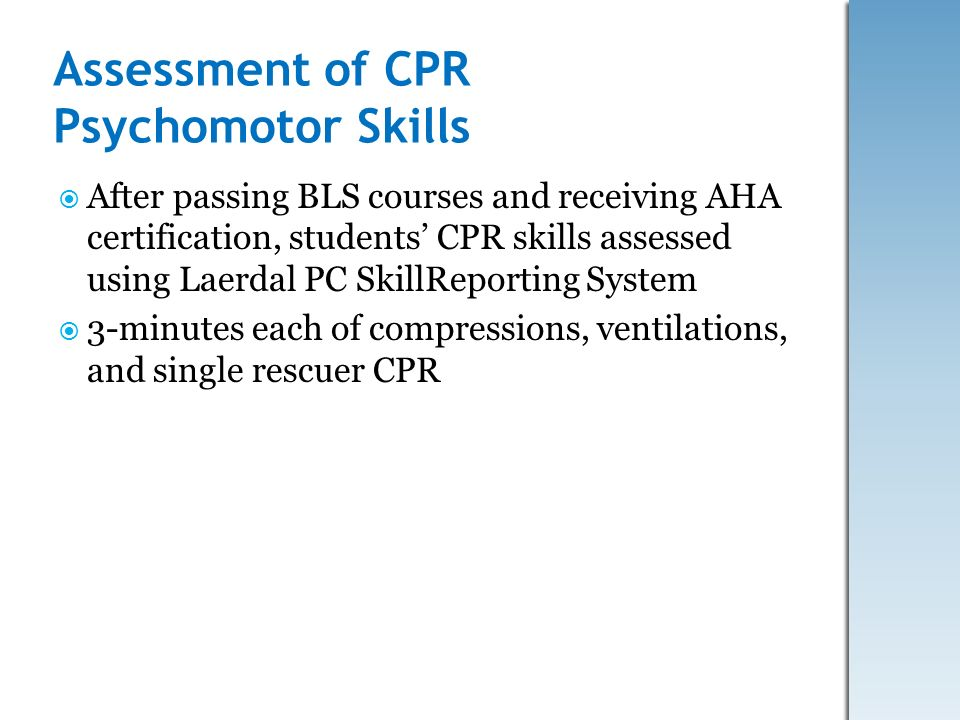 Assessment of CPR Psychomotor Skills