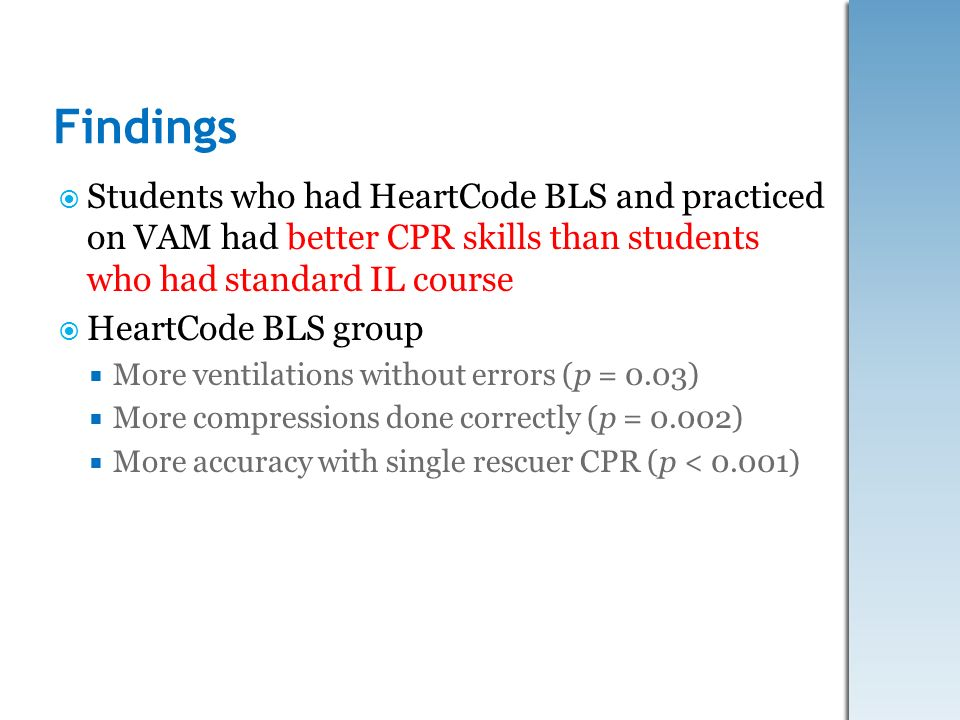 Findings Students who had HeartCode BLS and practiced on VAM had better CPR skills than students who had standard IL course.