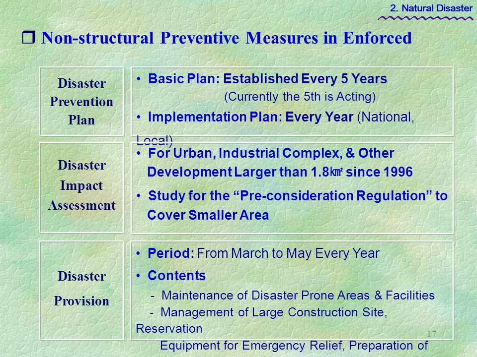prevention for natural disaster Environmental management and the mitigation of natural disasters:  disasters as they lacked the capacity to prevent and prepare for disasters the need to have more.