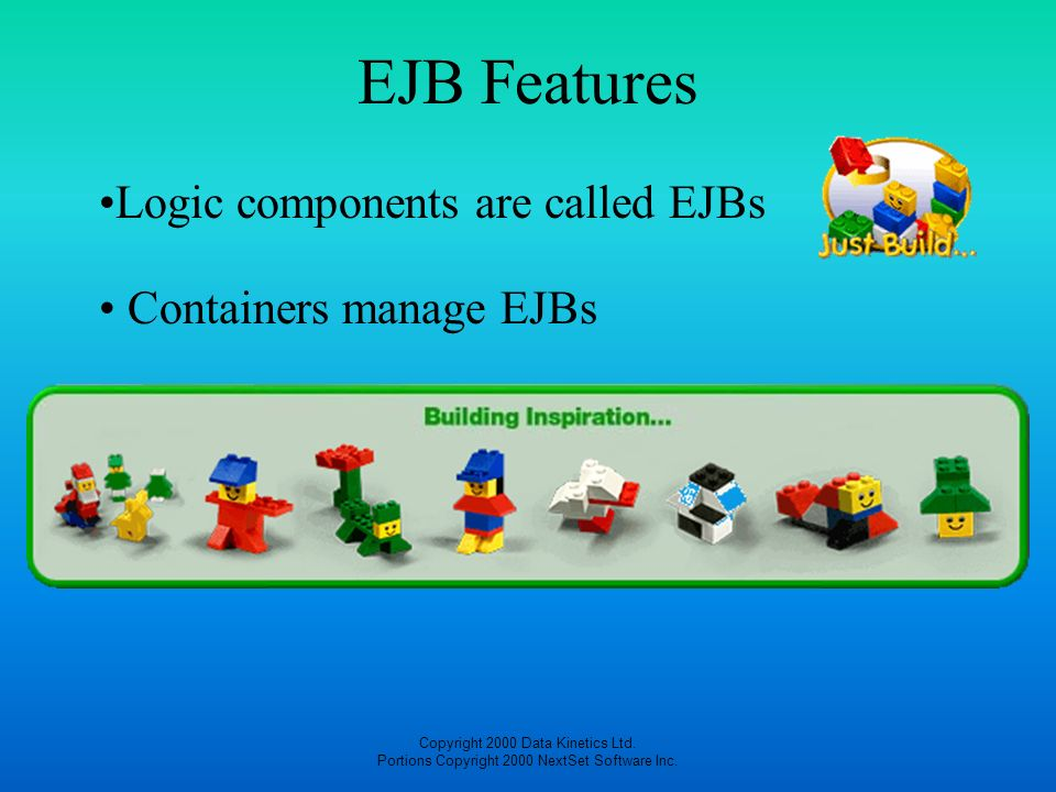 EJB Features Logic components are called EJBs Containers manage EJBs