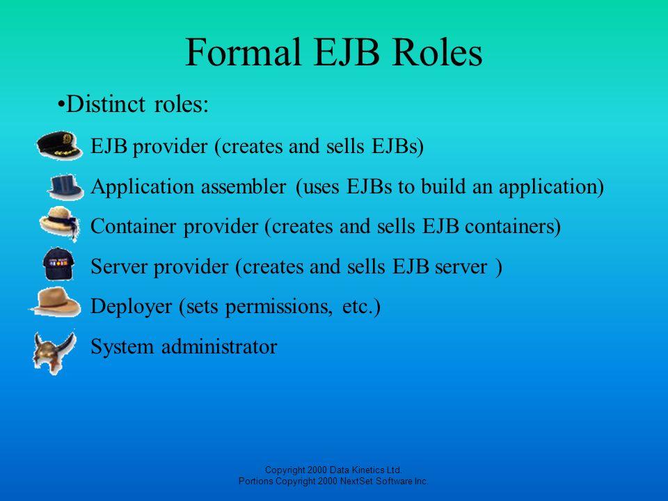 Formal EJB Roles Distinct roles: EJB provider (creates and sells EJBs)