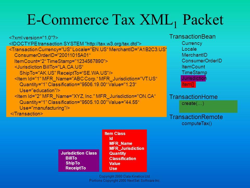 E-Commerce Tax XML1 Packet