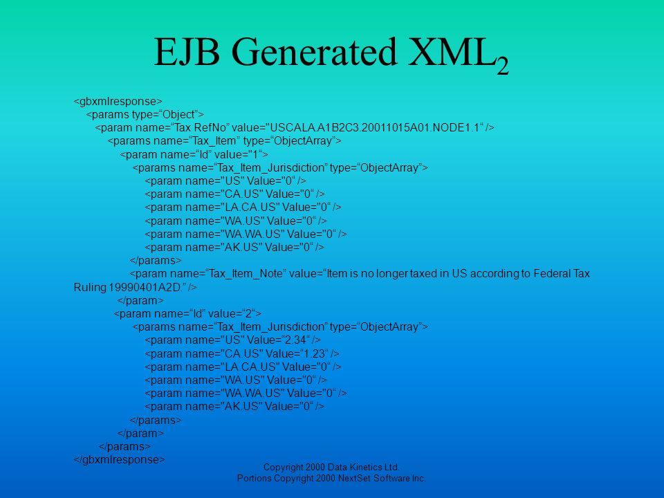 EJB Generated XML2 <gbxmlresponse> <params type= Object >