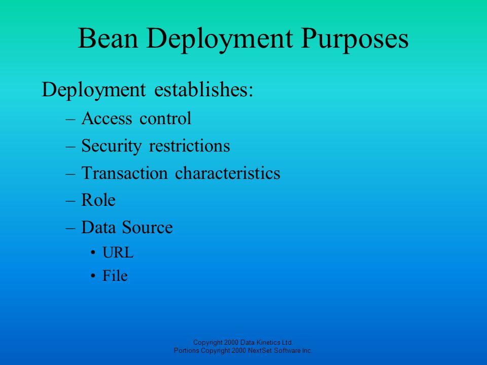 Bean Deployment Purposes