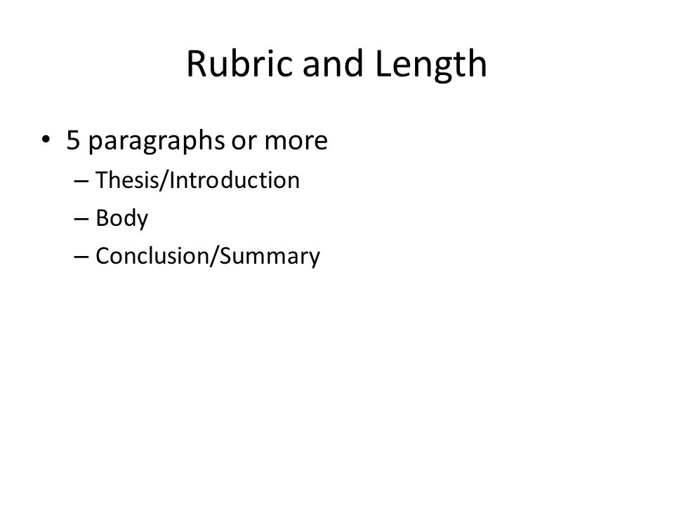5 paragraph thesis rubric