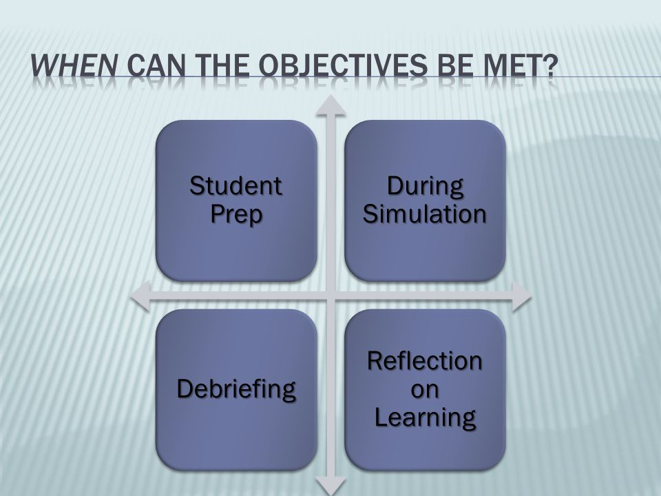 When can the objectives be met