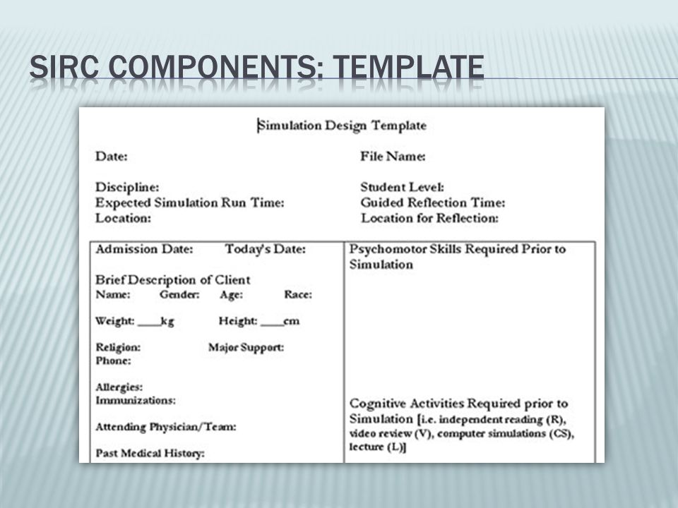 SIRC Components: Template