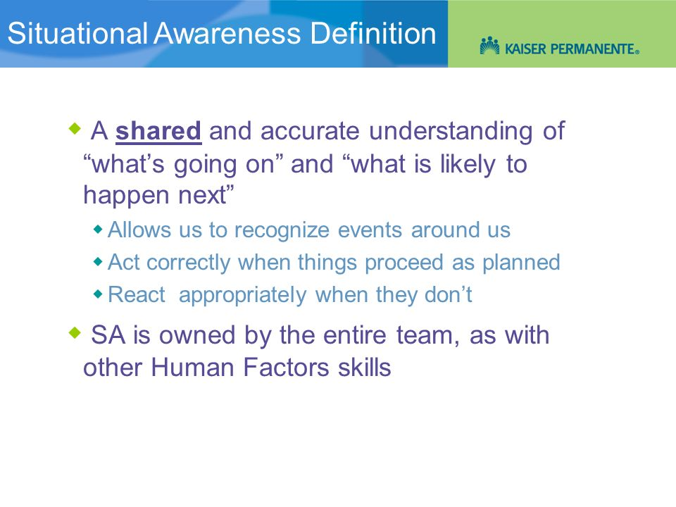 Situational Awareness: An Overview