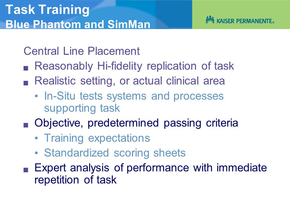 Task Training Blue Phantom and SimMan