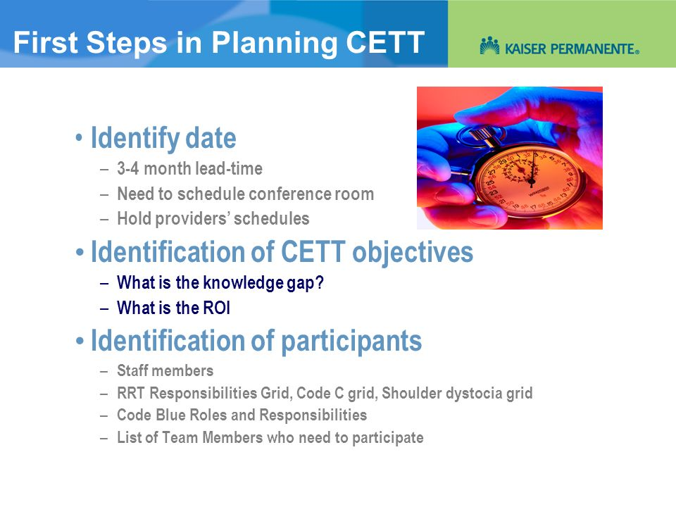 First Steps in Planning CETT