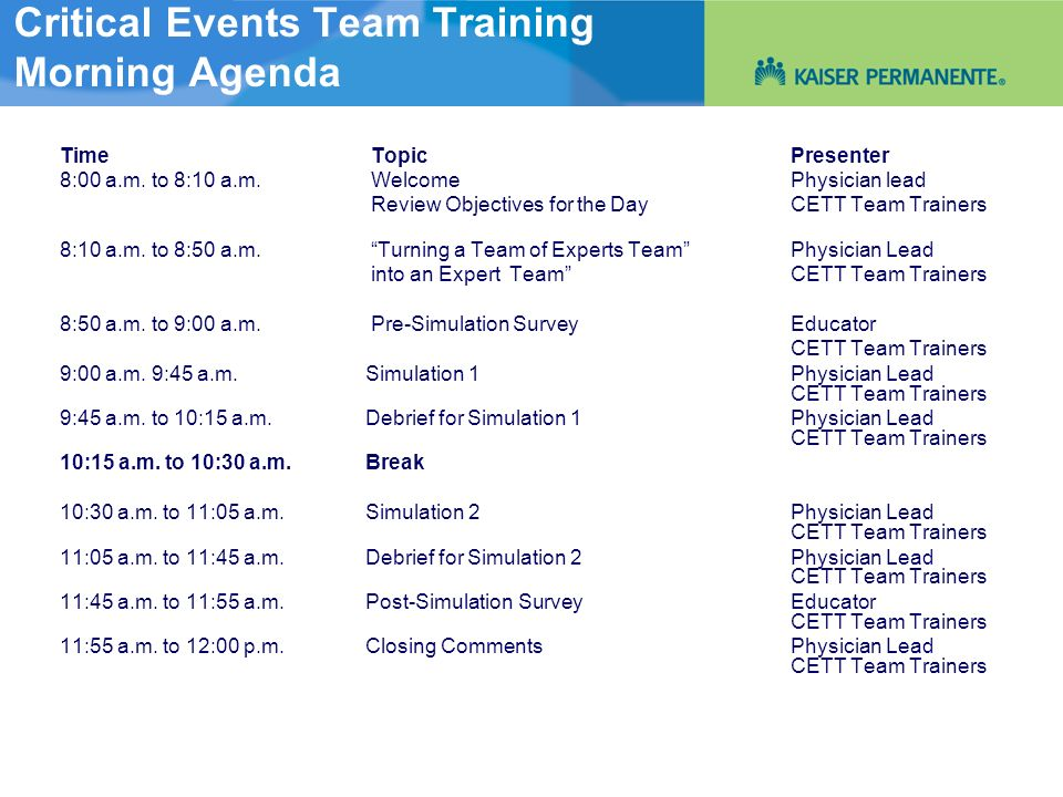 Critical Events Team Training Morning Agenda