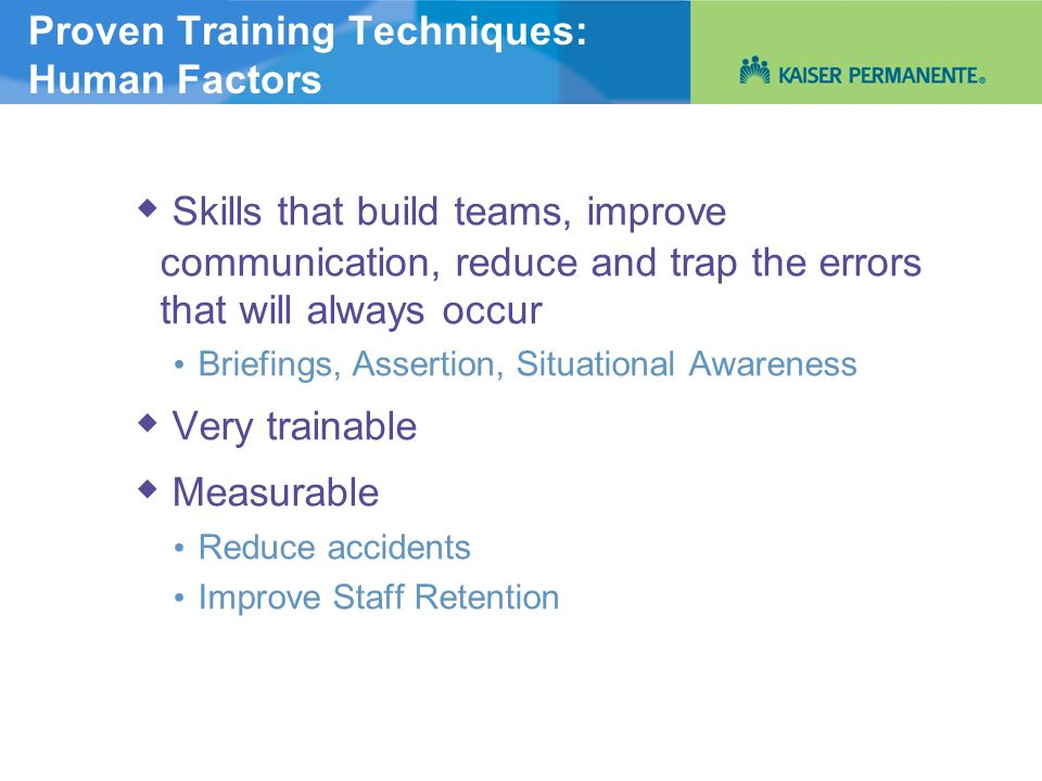 Proven Training Techniques: Human Factors