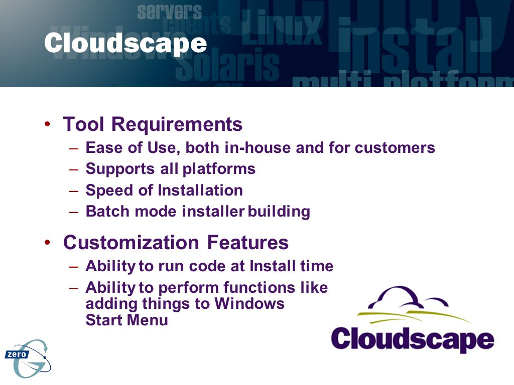 Cloudscape Tool Requirements Customization Features