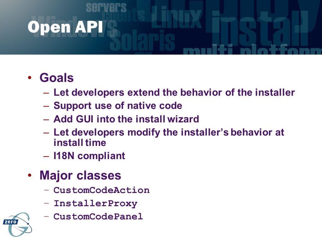 Open API Goals Major classes