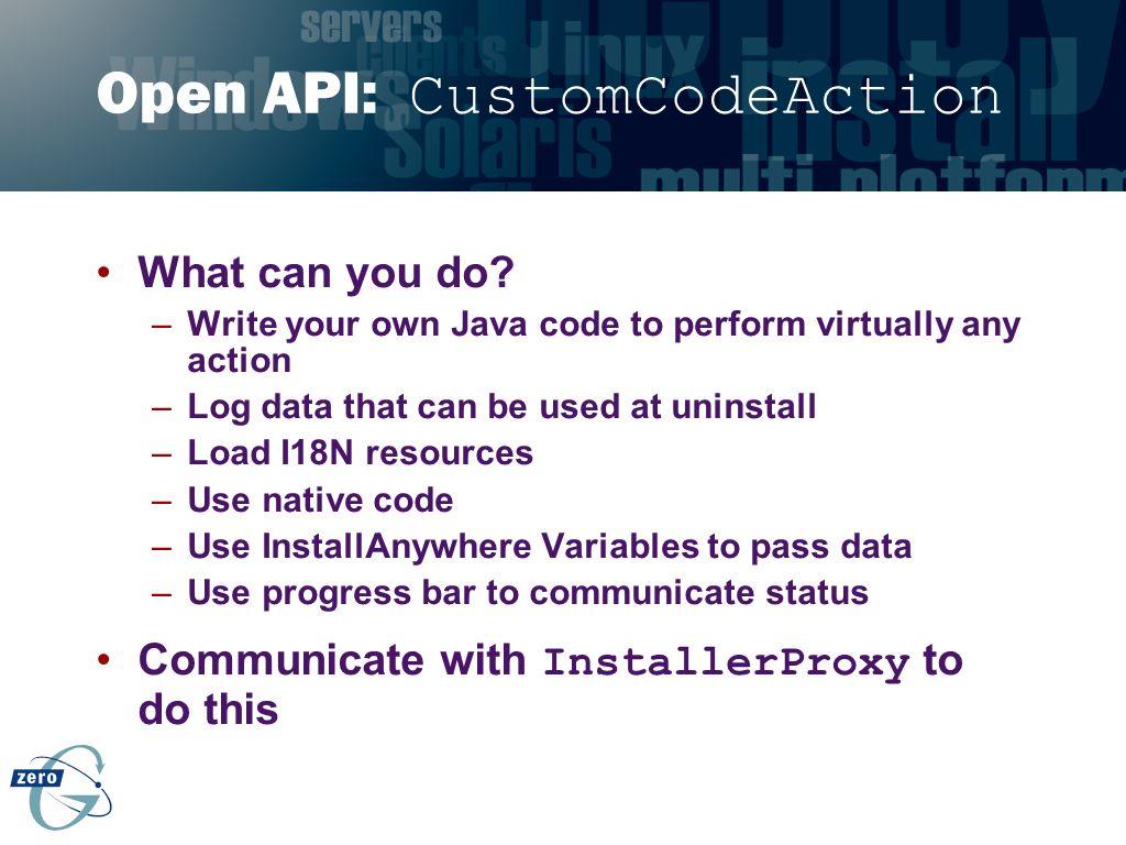 Open API: CustomCodeAction