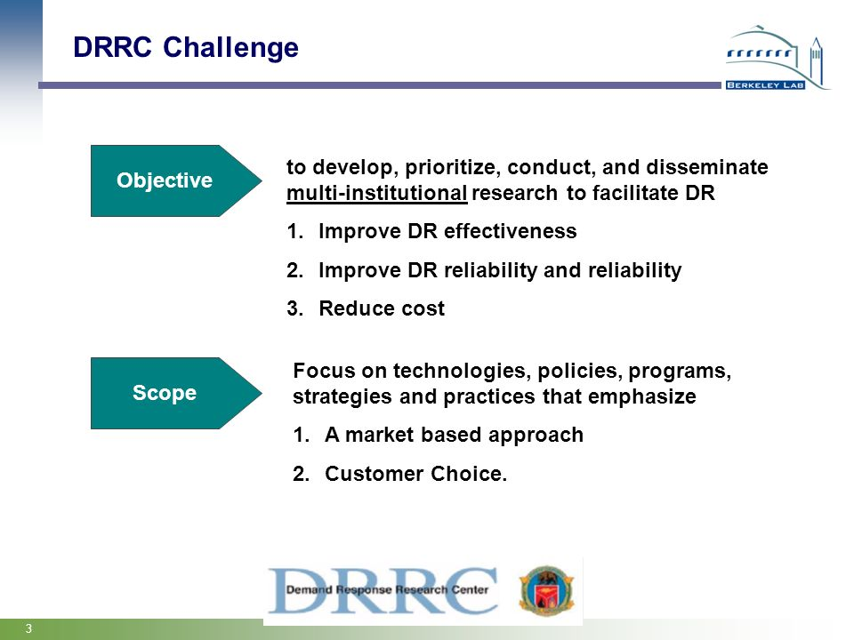 DRRC Challenge Objective. to develop, prioritize, conduct, and disseminate multi-institutional research to facilitate DR.