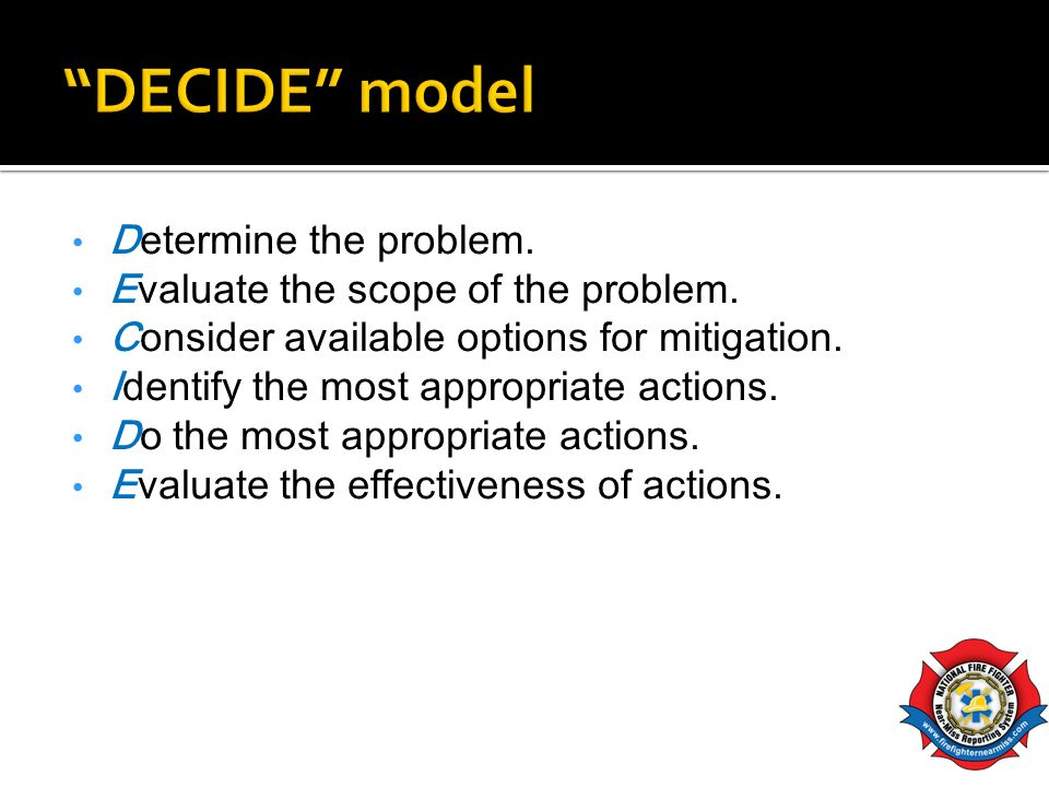DECIDE model Determine the problem.