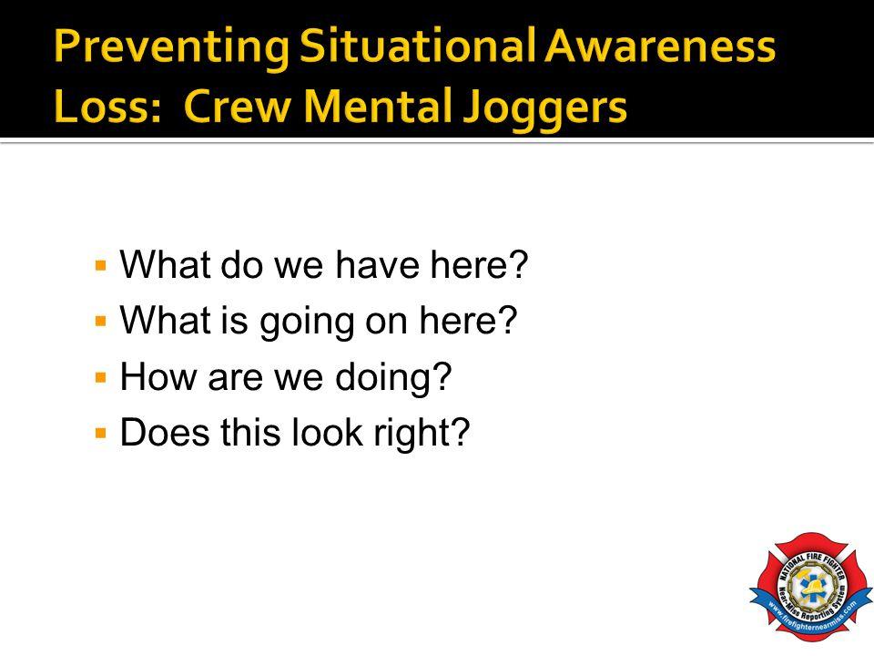 Preventing Situational Awareness Loss: Crew Mental Joggers