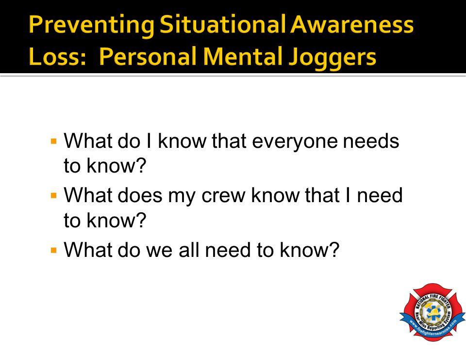 Preventing Situational Awareness Loss: Personal Mental Joggers