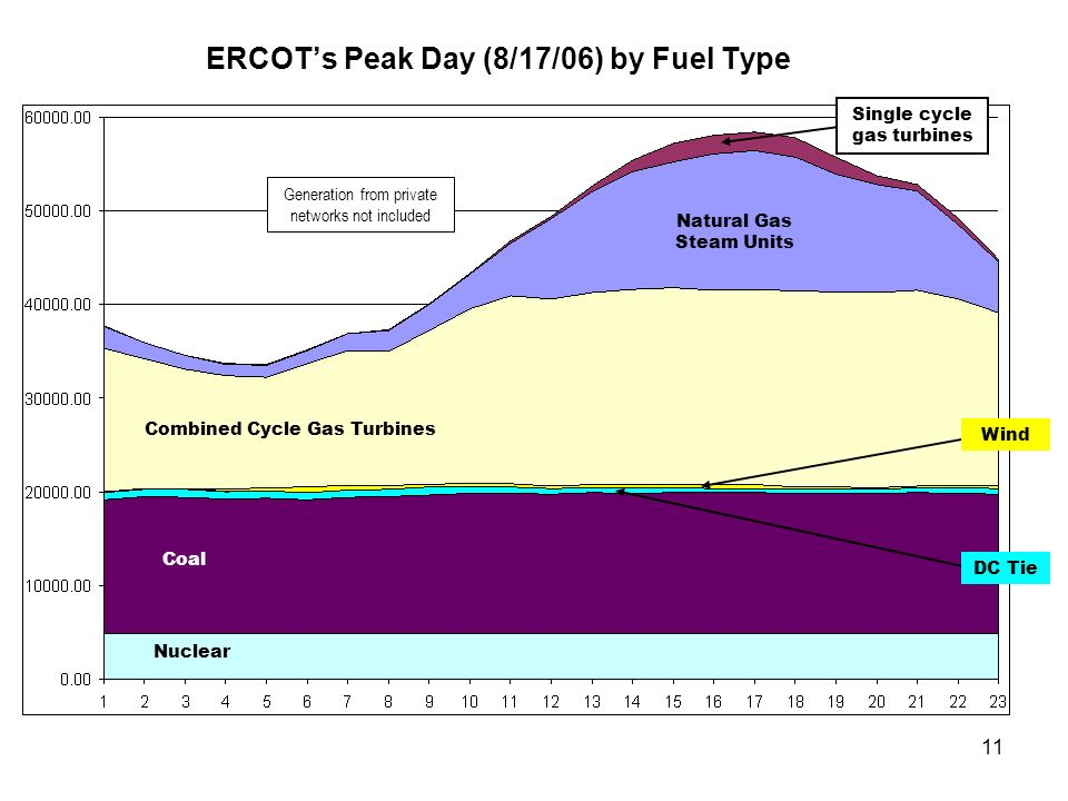 ERCOT's Peak Day (8/17/06) by Fuel Type
