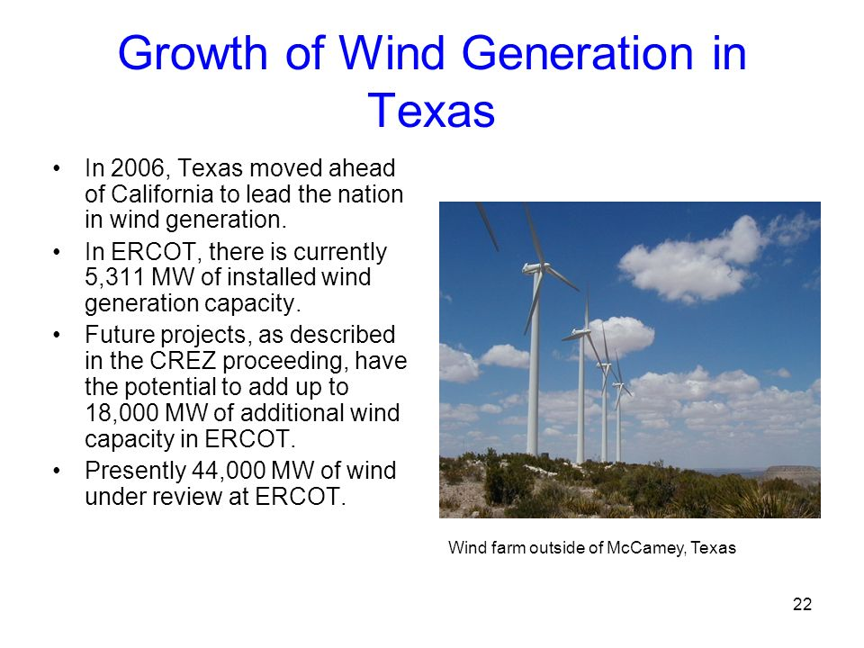 Growth of Wind Generation in Texas