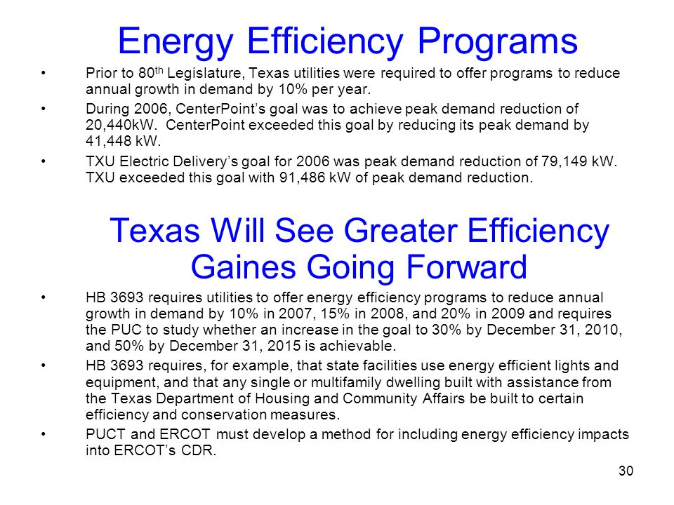 Energy Efficiency Programs