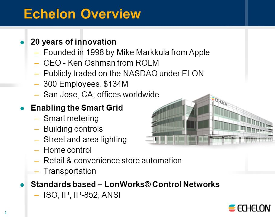Echelon Overview 20 years of innovation