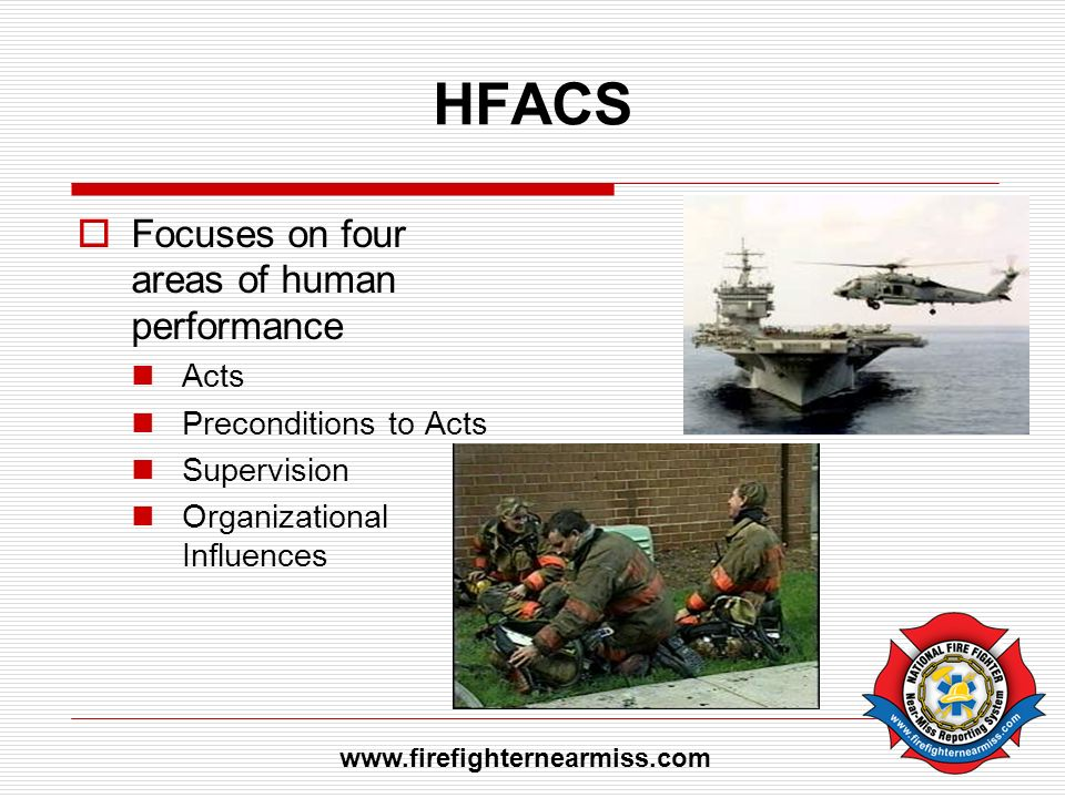 HFACS Focuses on four areas of human performance Acts