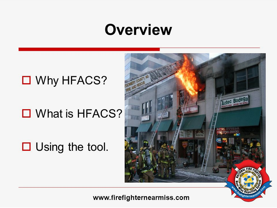Overview Why HFACS What is HFACS Using the tool.