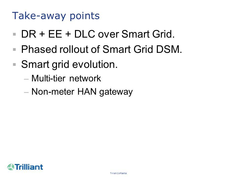 DR + EE + DLC over Smart Grid. Phased rollout of Smart Grid DSM.