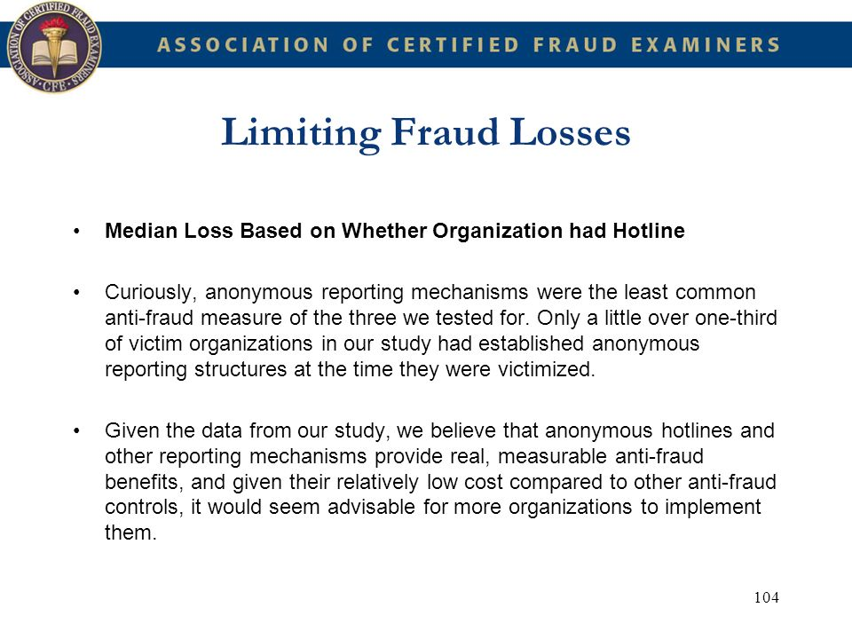 Limiting Fraud Losses Median Loss Based on Whether Organization had Hotline.