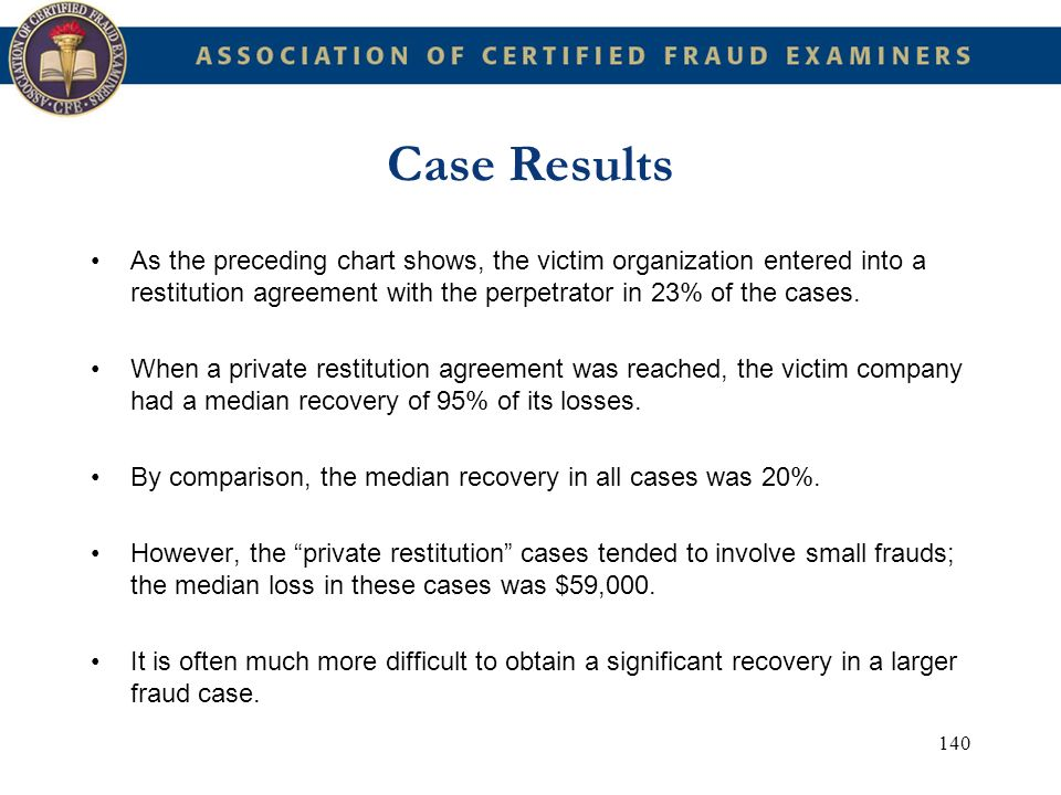 Case Results As the preceding chart shows, the victim organization entered into a restitution agreement with the perpetrator in 23% of the cases.
