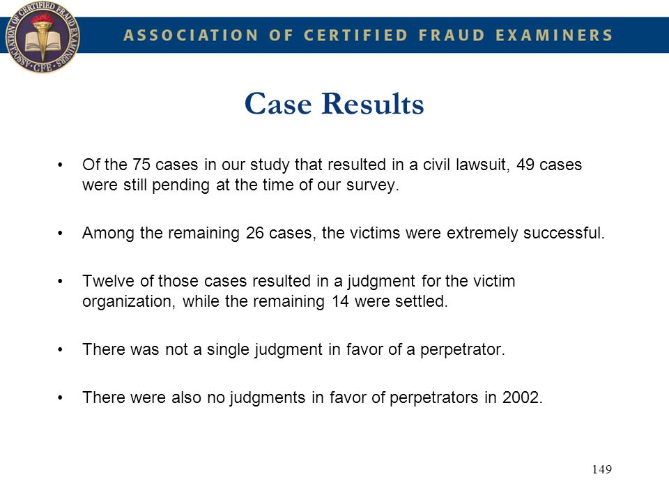 Case Results Of the 75 cases in our study that resulted in a civil lawsuit, 49 cases were still pending at the time of our survey.