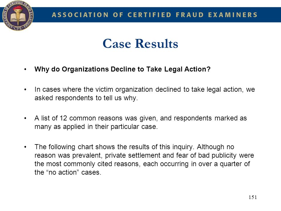Case Results Why do Organizations Decline to Take Legal Action