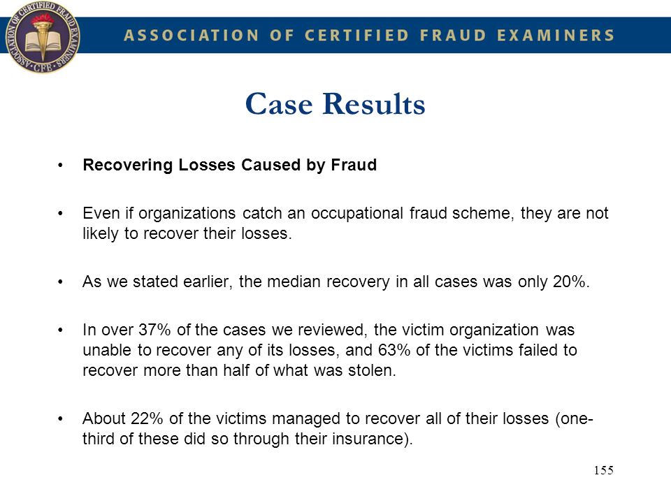 Case Results Recovering Losses Caused by Fraud